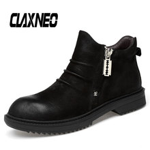 CLAXNEO Man Boots Zipper Autumn Men Shoes Genuine Leather Designer Male Ankle Boot Casual Walking Footwear clax men s ankle boots genuine leather casual shoes male 2018 spring autumn leather boot soft comfortable walking footwear