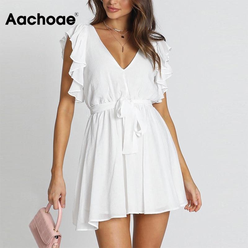 Aachoae Summer Women Mini White Dress Deep V Neck Ruffles Beach Dress Sundress Sleeveless Backless Chic Dress Lady Ropa Mujer