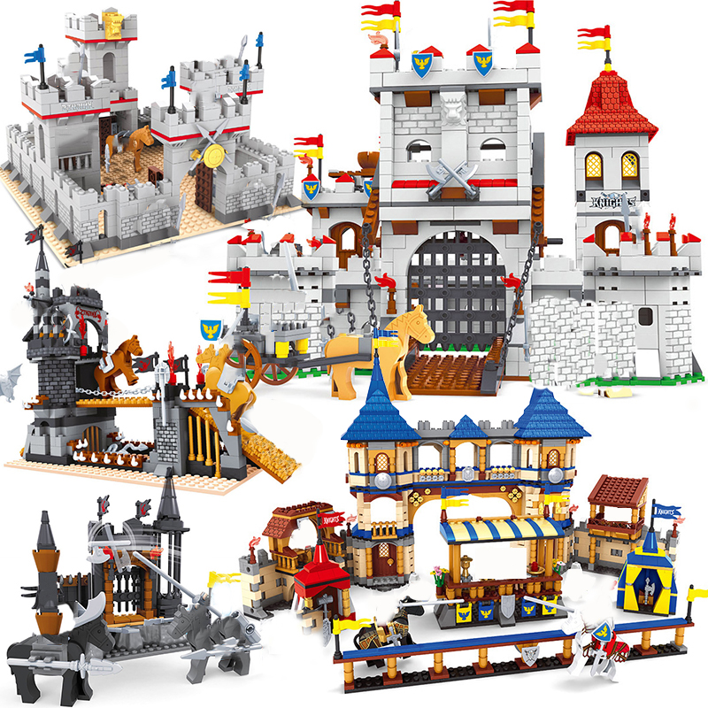 Ausini Blocks Compatible <font><b>Medieval</b></font> <font><b>Castle</b></font> Soliders Model Building Creator Toys Armor Royal Arena Bricks Sets Horse Knights image