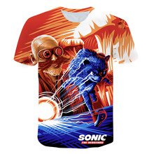 2021 Summer Boys 3D Printed Cartoon Sonic T shirt Blue Hedgehog Girls Streetwear Children Kids Clothes Baby Funny Tshirt O-Neck