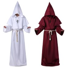 Halloween Comic Con Cosplay Costume Halloween Cos Monk Hooded Robe Cloak Cape Friar Medieval Renaissance Priest Men Robe Clothes(China)