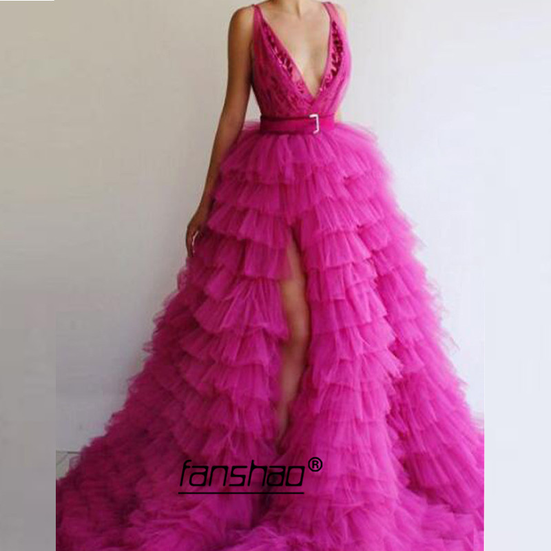 Fuchsia Evening Dresses Tiered Slit V-neck Belt Applique Islamic Dubai Saudi Arabic Long Evening Gown Boho Prom Dress