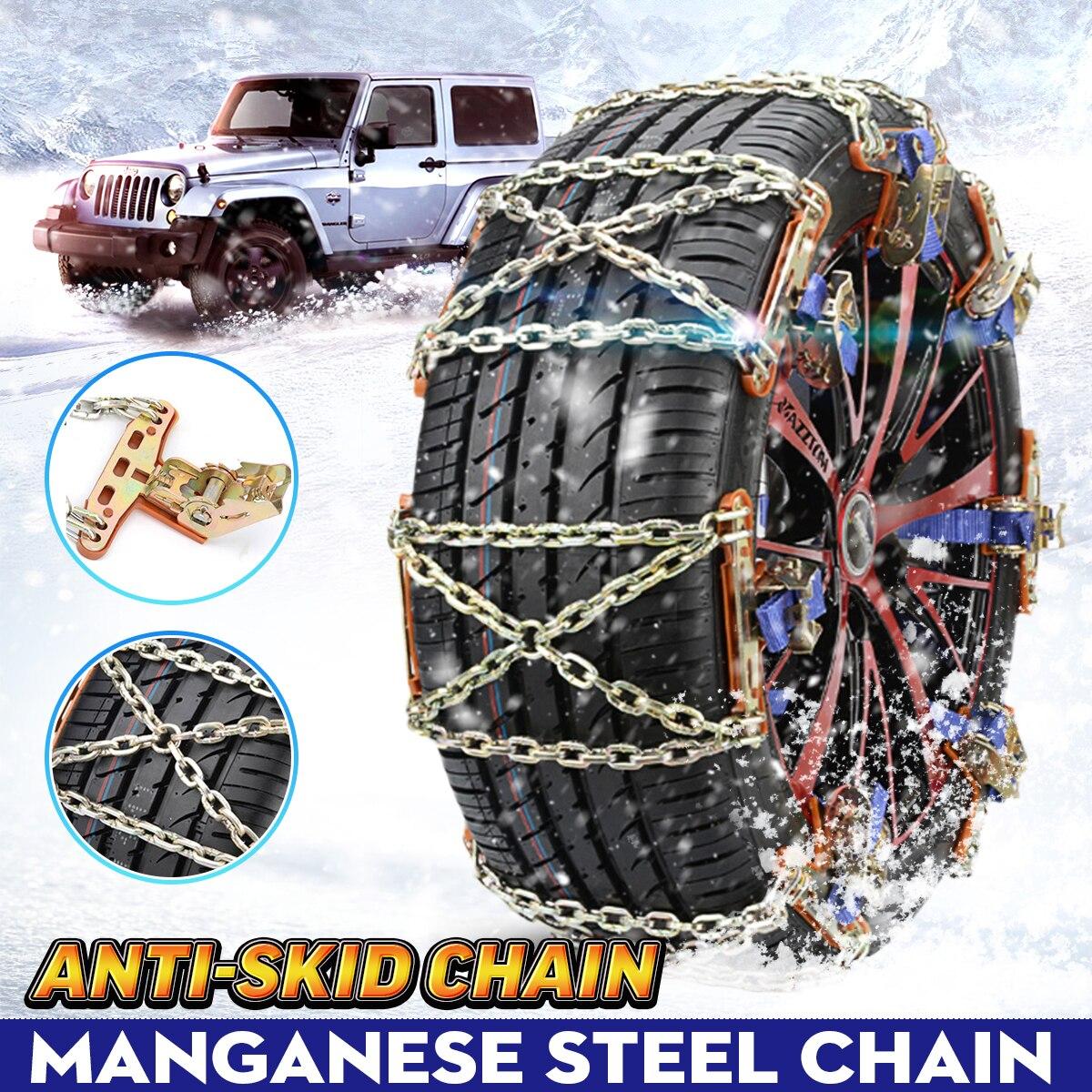 Evrensel çelik kamyon araba tekerlekleri lastik kar buz zincirleri kemer kış Anti-skid araçlar SUV tekerlek zinciri çamur yol güvenli güvenlik