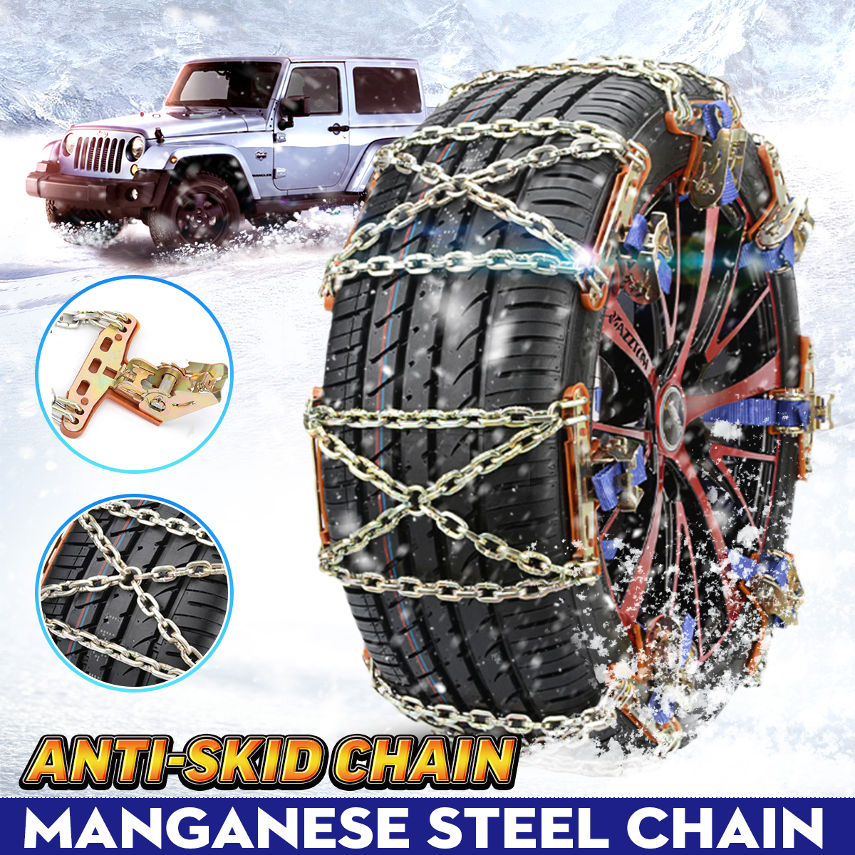 Universal Steel Truck Car Wheels Tyre Tire Snow Ice Chains Belt Winter Anti-skid Vehicles SUV Wheel Chain Mud Road Safe Safety image