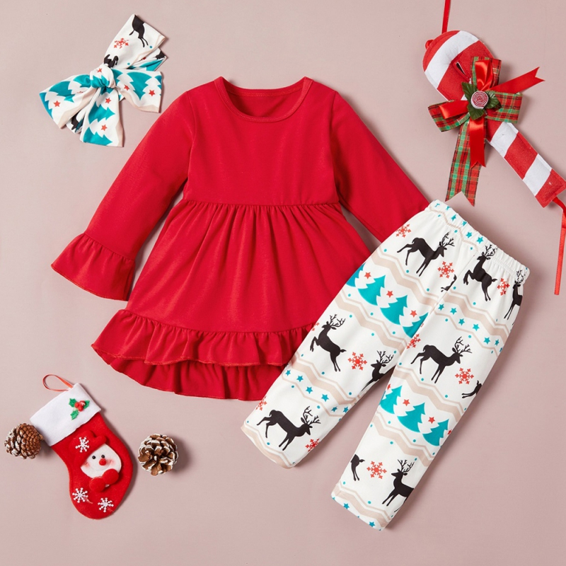 Toddler Long Sleeved Christmas Dresses 2020 2020 newChildren's Set Three Piece Long Sleeved Trousers Hair Band