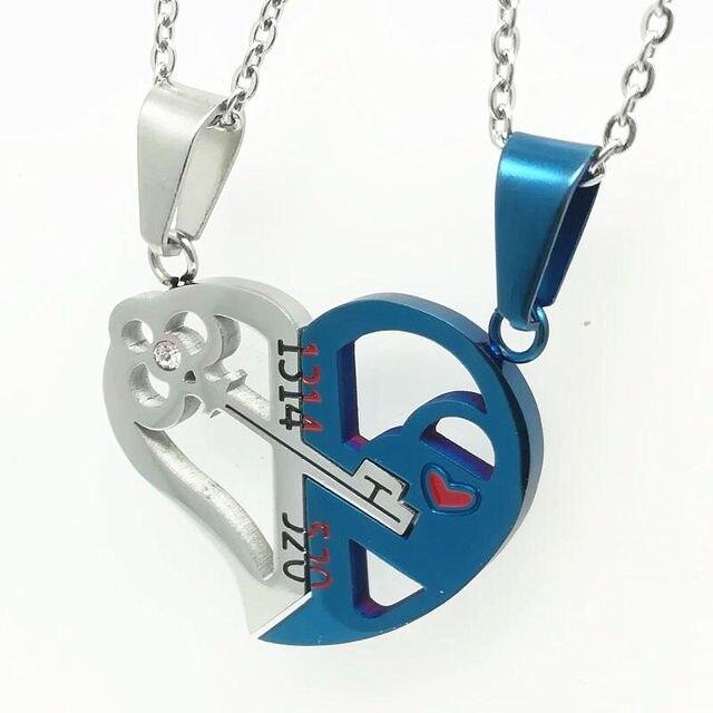 Купить любовник романтические пары сердце ключ кристалл кулон ее и