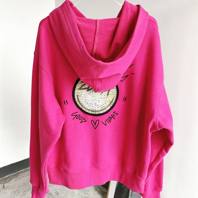 2021 French Chic 100% Cotton Women Pollovers Hoodie Letter Embroidery Green/Black/white O-Neck Loose Long Sleeve Sweatshirt 1