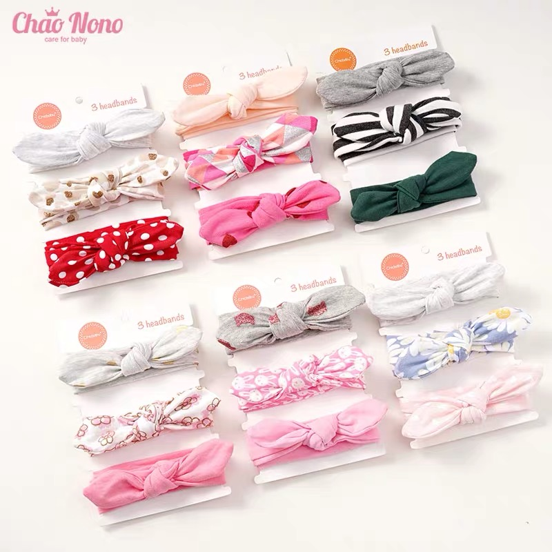 3Pcs Baby Headband For Newborn Hair Band Elastic Accessories Cotton BowKnot Girl Hair Band Baby Girl Headband