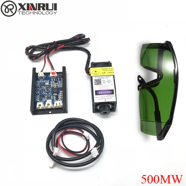500mw 405NM青紫色レーザーモジュール彫刻、ttl pwm制御管ダイオード + ゴーグル