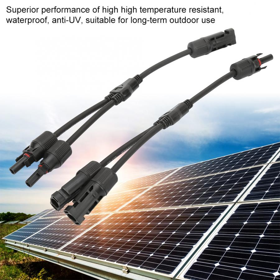 Solar Panel Connector MC4 Y Branch Cable Wire Adapter Waterproof Plug Kit 1 Pair