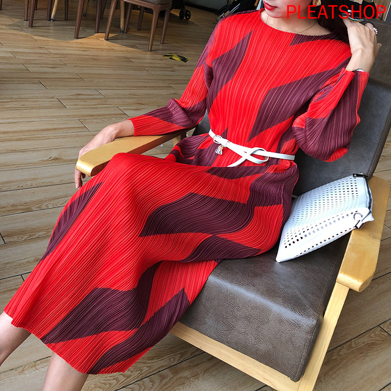Miyake Pleated Floral Printed Dress 2020 Spring Clothing New Style Fashion Ultra-stretch Base dresses elegant women dress
