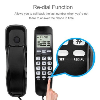 Mini Phone Wall-mount Telephone Dual Caller Wall Mount Corded Phone Telephone Desktop Home Office Corded Telephone Calle