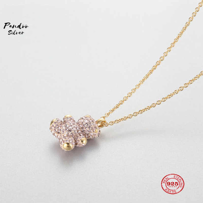 PANDOO Fashion Charm Pure 925 Silver Original 1:1 Copy, Cute Childlike Teddy Bear Pendant Necklace Female Luxury Jewelry Gifts