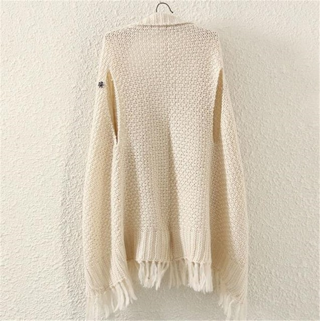 Neploe 2021 New Korean Cardigans Tops Women Casual Loose Irregular Tassel Cape Poncho Plus Size Pull Femme Shawl Knitted Sweater 4