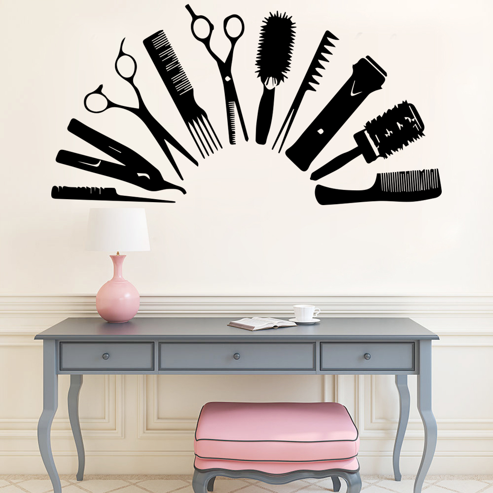 Pegatinas de pared para salón creativas para el cabello para decoración salón de belleza calcomanía de pared de barbero vinilo vinilos decorativos para puertas