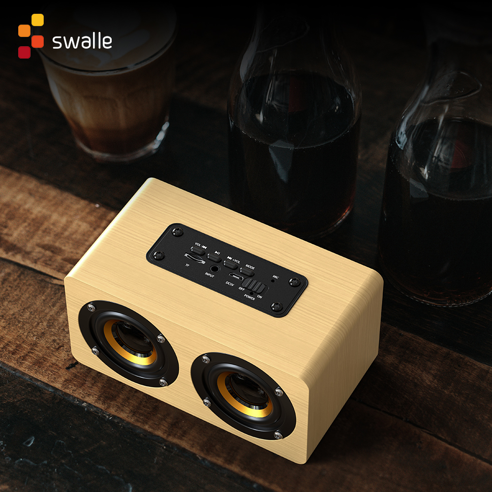 Swalle AUX Wooden Wireless Bluetooth Speaker Portable HiFi Shock Bass Altavoz TF Soundbar for Mobile Phone