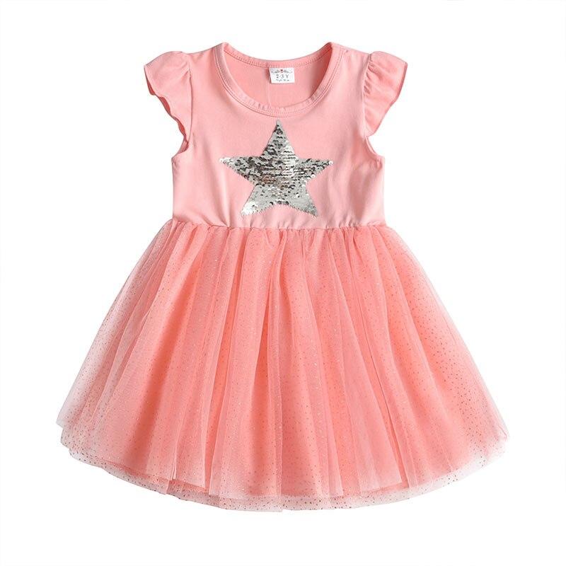 DXTON Girls Summer Dress Star Sequined Girls Tutu Dresses Kids Cartoon Princess Dress Children Costumes for Kids Cotton Clothes 5