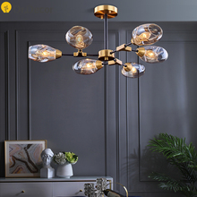 Nordic Iron Glod Luxury Chandelier Lighting Modern LED Chandeliers Glass Lampshade Hanging Lamp French Country Lighting Lustre