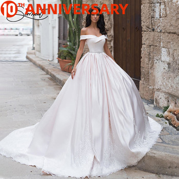 BAZIIINGAAA  Luxury Wedding Dress Simple Organza Satin White Wedding Dress Sleeveless Backless Support Tailor-made white backless design halter sleeveless dress