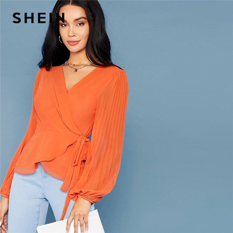 SHEIN Bright Orange Deep V Neck Tie Side Wrap Blouse Women Tops 2019 Autumn Pleated Sleeve Solid Elegant Belted Shirt Blouses 1