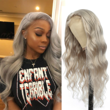 Silver Grey Body Wave Lace Front Wig Brazilian Remy Pre Plucked Human Hair Wigs For Black Women SOKU 150% Density 13x4 Lace Wig
