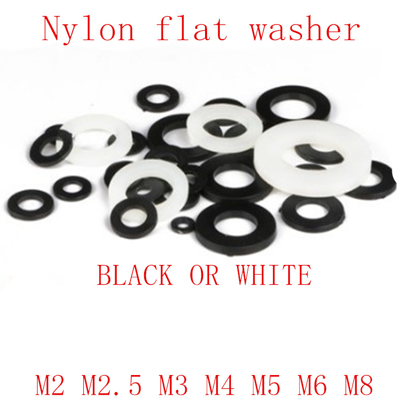 50-500pcs m2 m2.5 m3 m4 m5 m6 <font><b>m8</b></font> m10 black and white nylon plastic <font><b>washer</b></font> Gasket Ring kit image