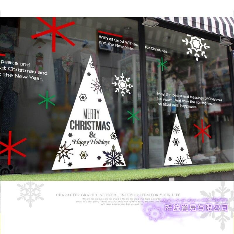 Grand autocollant de noël X mas décalcomanie affiches vinyle stickers muraux décor Mural verre boutique fenêtre décoration de la maison - 4