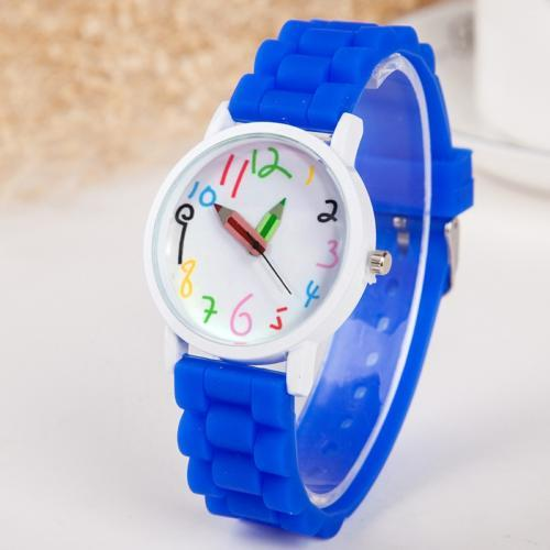 Silicone Watch Band Children Watch Cute Cartoon Pencil Kids Watches Women Sport Quartz Clock Ladies Wristwatch Girl Boy Gift