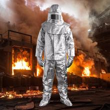 High Quality 100 Degree Thermal Radiation Heat Resistant Aluminized Suit Fireproof Clothes firefighter uniform 170/175/180cm