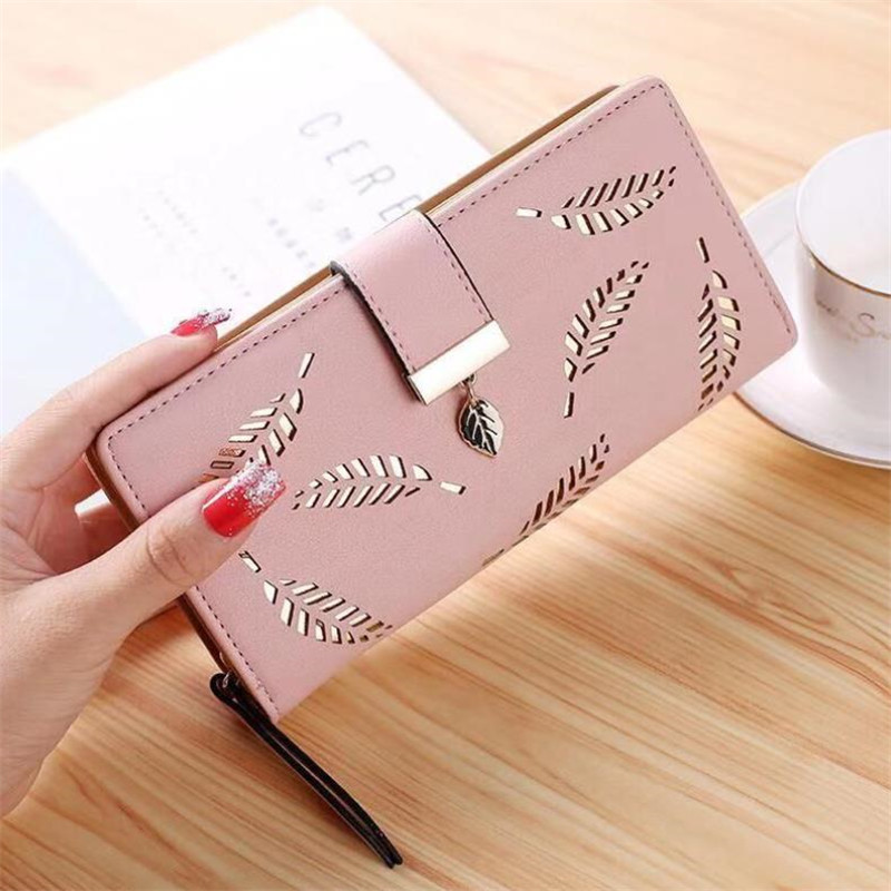 Fashion Women Wallet Long Wallet PU Leather Hollow Leaves Purse Pouch Handbag For Women Coin Purse Card Holders Clutch 20#46
