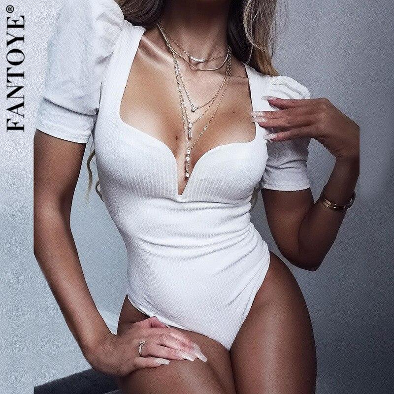 FANTOYE Puff Sleeve Black Sexy Bodysuit Women New V-Neck Bodycon Jumpsuit Bodysuit Female Body Elegante Mujer Overalls 2020
