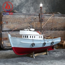 LUCKK Handmade Vintage Fishing Boat Simulation Model Home Decoration Mediterranean Style Solid Wood Craft Manual Ornaments Gifts