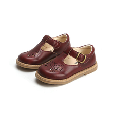 Spring Girls Leather Shoes Cut-outs Retro Kids Shoe