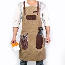 Wexiaomi peluquera avental de barbeiro, avental de lona unissex com bolsos de couro, vintage para salão de beleza