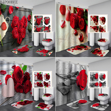 Red Rose Toilet Lid Cover Anti-slip Carpet Bathroom Curtain Set Bath Mats Rugs Beautiful Flowers Shower Curtains with 12 Hooks