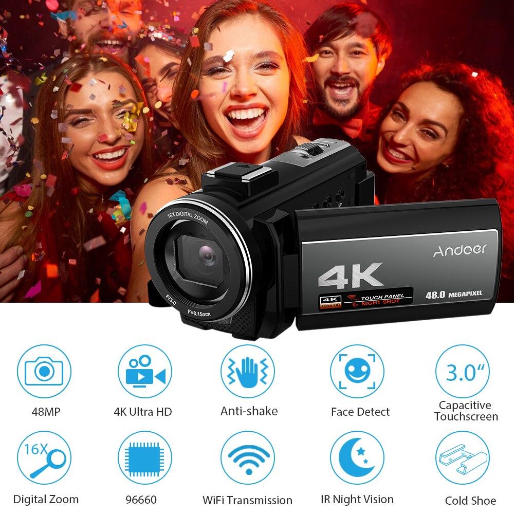 Andoer Portable 4K 48MP WiFi caméra vidéo numérique caméscope + Microphone externe 0.39X grand Angle lentille IR infrarouge de nuit