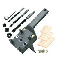Holzbearbeitung Dübel Jig 6 8 10mm Holz Bohrer Handheld Tasche Loch Jig Doweling Loch Sah Bohrer Guide Werkzeuge Für zimmerei