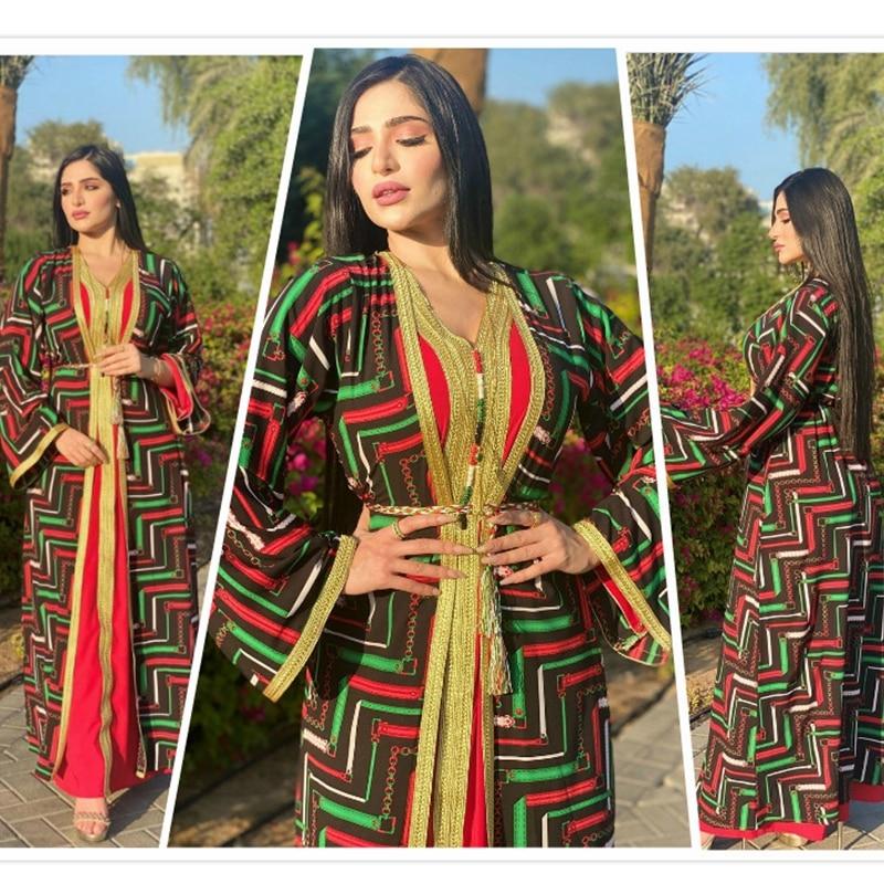 Mandylandy Middle East Women Muslim Sets Floral Printing Abaya Arab Ramadan Muslim Robe 2 Piece Sets Muslim Cardigan Dress
