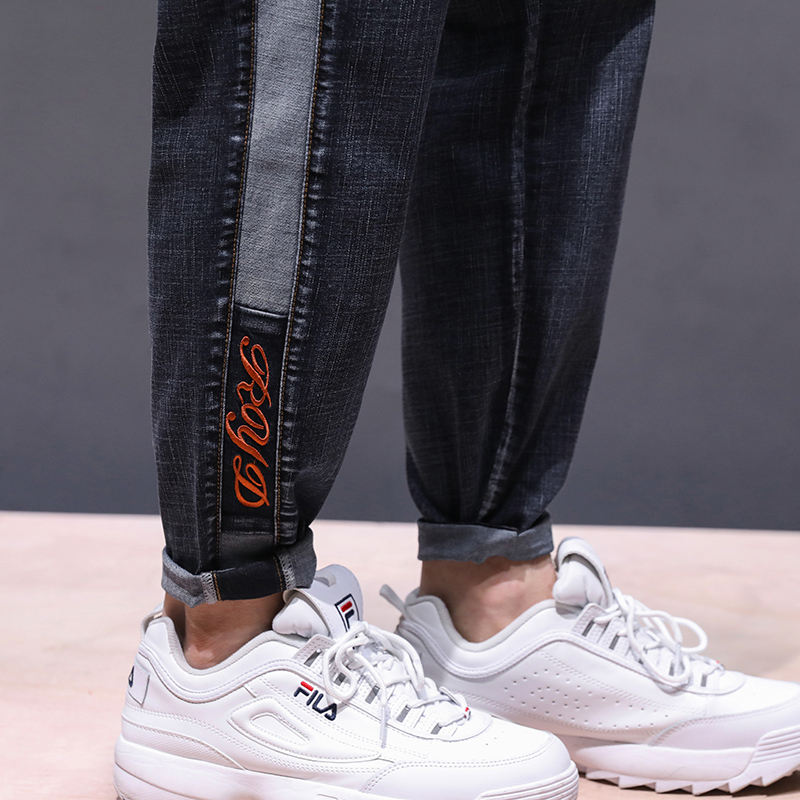 Famous Brand Jeans Men 2020 Spring Relaxed Jeans Man Loose Fit Patchwork Casual Male Trousers Side