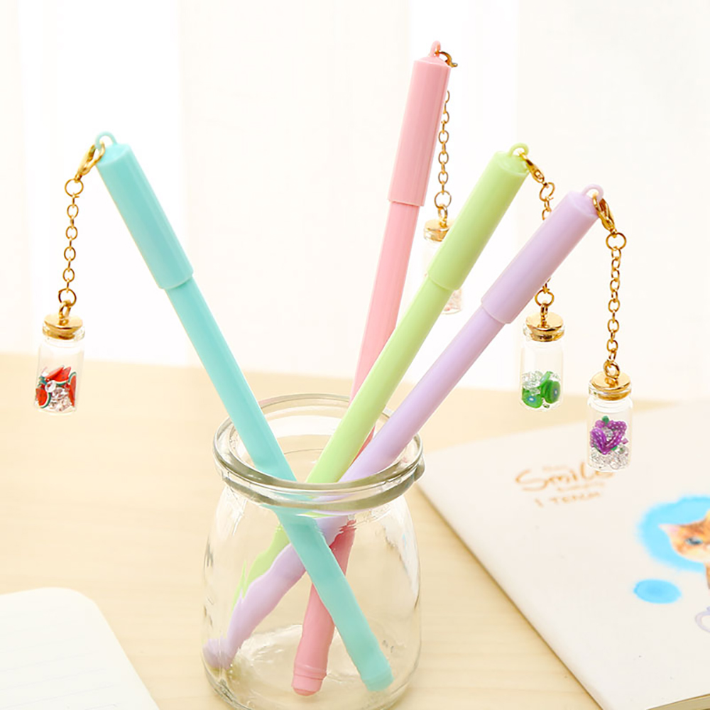Pretty Kawaii Fruit Bottle Pendant Gel Pen Cute Blue Stationery Store School Supply Kawai Stationary Office Accessory Love Thing