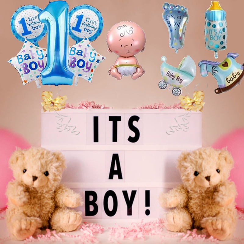 Baby 1st Balloons Set Pink Blue Number Foil Air Balls Boy Girl Toys Decorations For Kids Supplies