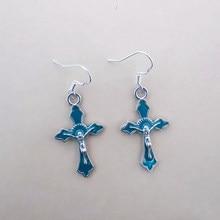 Moda vintage jesus cruz balançar gota brincos para mulher jóias presente instrução encantos azul acessórios goth steampunk