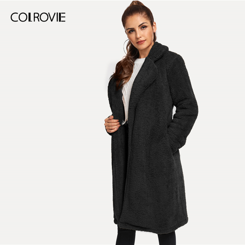 COLROVIE Solid Long Teddy Coat Women Glamorous Black Coats 2019 Fall Winter Warm Coats Notched Collar Shearling Outerwear
