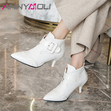 Купить с кэшбэком ANNYMOLI Women Boots Autumn Ankle Boots PU Leather Thin High Heels Short Boots Buckle Pointed Toe Shoes Female Winter Size 34-43