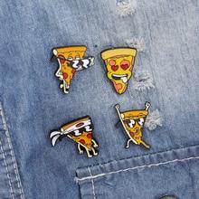 Pizza Japanese Warrior Enamel Pins Cartoon Japan Cool Sunglasses Pizza Face Denim Jeans Pin Badge Friendship Gift For Friends