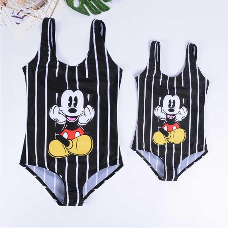 Keluarga Yang Sesuai dengan Baju Renang Bikini Wanita One Piece Mickey Bikini Baju Renang Wanita Satu Potong Baju Renang Pakaian Renang untuk Anak