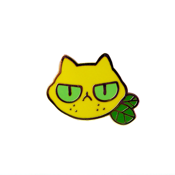 Sourpuss Brooch sour-faced lemon kitty pins Great accessory for the grumps in your life image