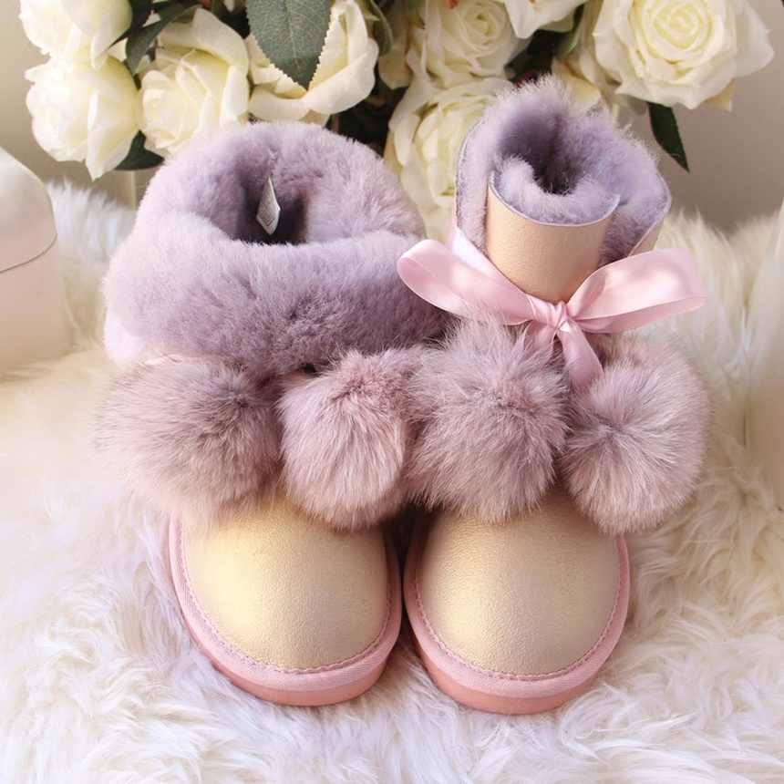 G & ZaCo lüks hakiki koyun derisi çizmeler kadın kış tilki topu yün kar botları su geçirmez koyun düz kısa çizmeler kadın G çizme