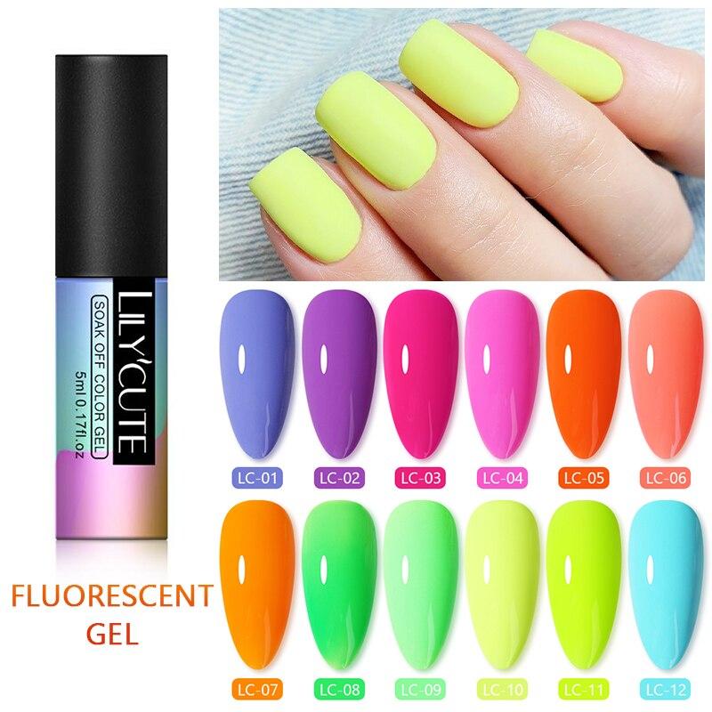 LILYCUTE 5ml Fluorescent Neon Luminous Nail Gel Polish UV LED 12 Colors Soak Off Gel Varnish Nail Art Design Gel Varnish