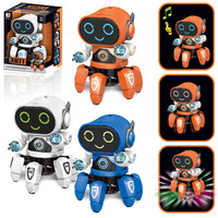 Cross Border New Style Dancing Electric Robot Six claw Fish Light Music Children Stall Hot Selling Toy Wholesale Gift